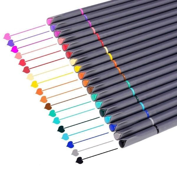 18 PC Colored Fine Point Journal Drawing Pens