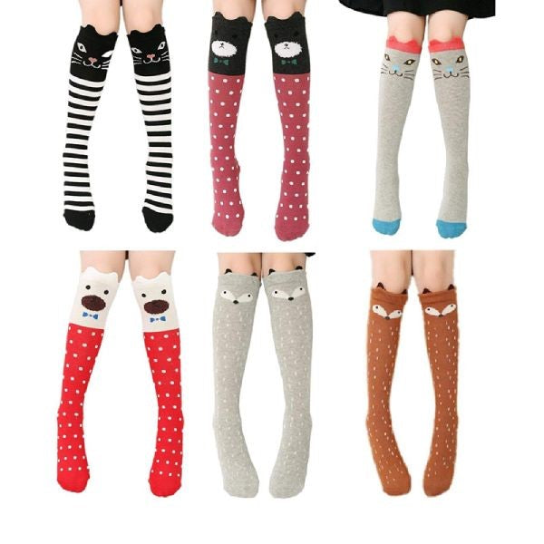 6 Pack Cartoon Animal Kids Knee High One Size Fits All Socks