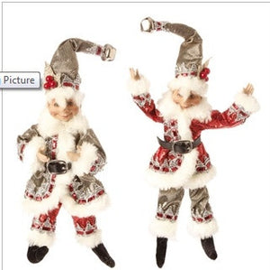 "11"" Posable Elf Ornament Pair"
