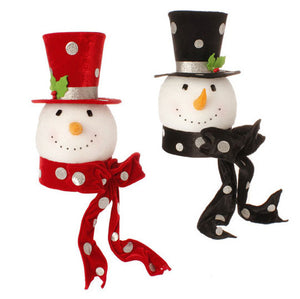 "14.5"" x 27"" Round Snowman Red/Black Top Hat Tree Topper"