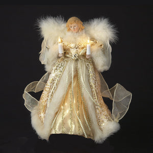 "10"" Gold/Ivory Angel Tree Topper UL1082"