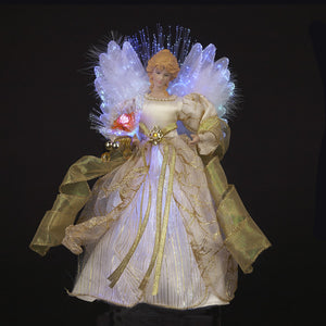 "12"" LED Fiber Optic Ivory/Gold Angel Topper UL1983"