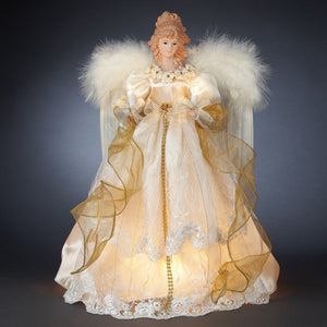 "16.5"" 10 Light Ivory/Gold Angel Topper"