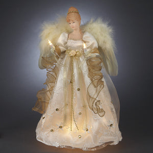 "16"" Ivory/Gold Angel Topper UL2170"