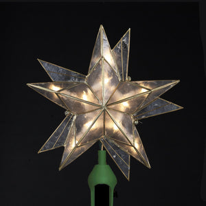"9"" 10 Light Capiz Star with Black Accents Tree Topper UL3092"