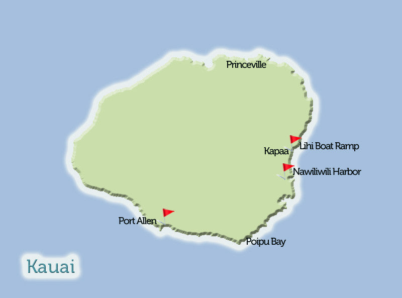 Kauai Deep Sea Fishing Map View