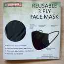 3ply Reusable, Washable Cloth Face Mask - Black