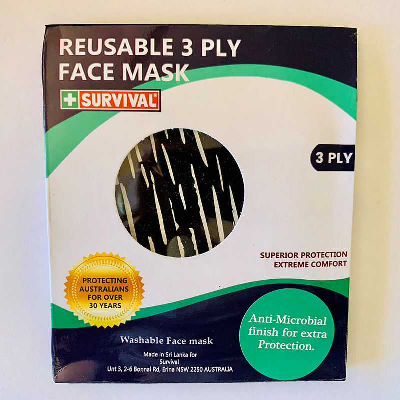 3ply Reusable, Washable Cloth Face Mask, Black & White