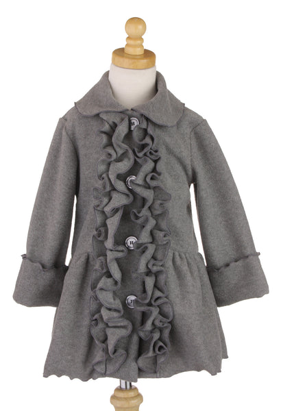 #6329 Charcoal Ruffle Jacket & Hat Set