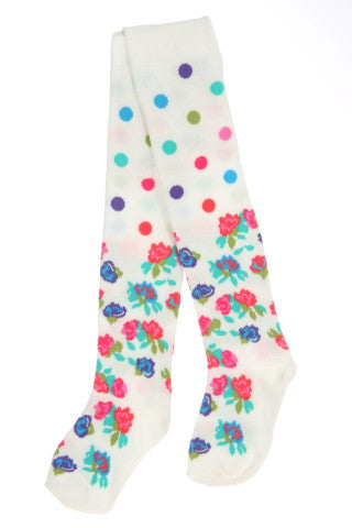 #240 White Floral Dot Tights