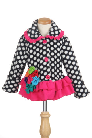 #1602 Polka Dot Floral Jacket and Headband Set
