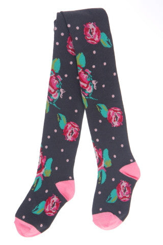 #240 Charcoal Cabbage Rose Tights