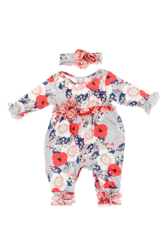 #1831LG Lotus Flower Infant Romper Set