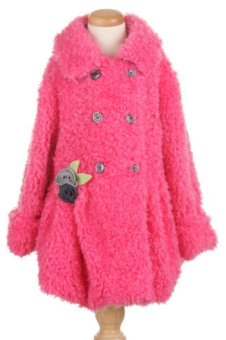 #5105 Fuzzy Wuzzy Faux Fur Double Breasted Coat