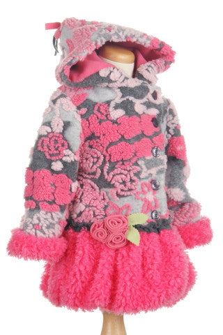 #5103 Monet's Garden Hi Low Faux Fur Hooded Jacket
