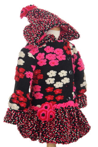 #5103 Cherry Confetti Hi Low Faux Fur Hooded Jacket