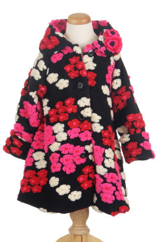 #5100 Cherry Confetti Hi Low Faux Fur Swing Coat