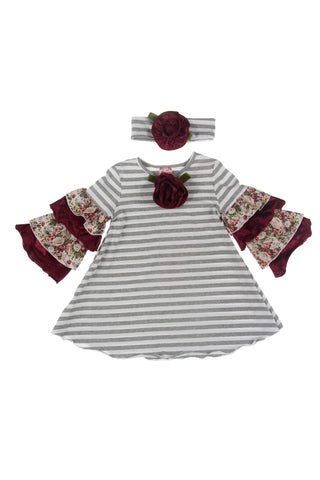 #1826HG Berries Dress & Headband Set