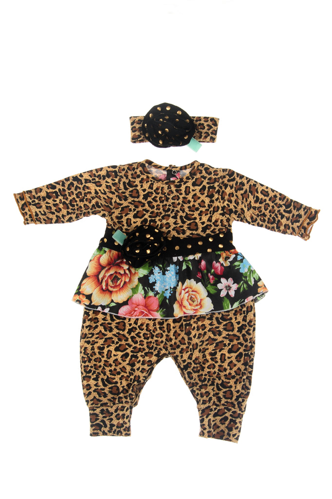 #1831LPD Leopard Infant Romper Set
