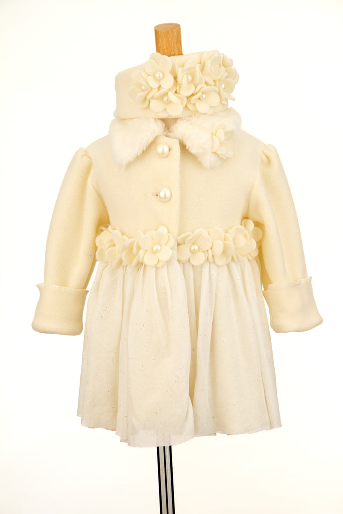 #1810 Ivory Holiday Coat & Headband Set