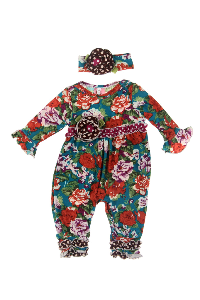 #1831TL Cabbage Rose Infant Romper Set