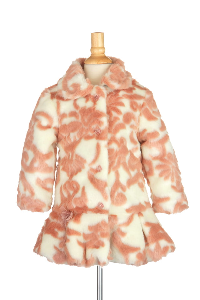 #1707 Dusty Pink Damask Drop Waist Faux Fur Coat