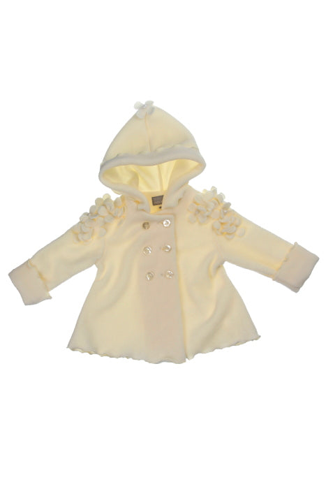 #1913 Ivory Daisy Hooded Fleece Jacket