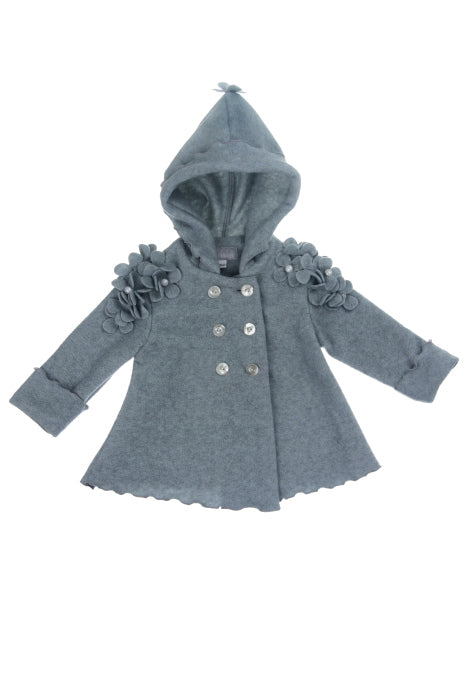 #1913 Heather Grey Daisy Hooded Fleece Jacket