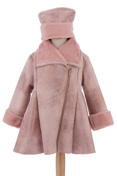 #1927 Dusty Rose Faux Suede Jacket & Hat Set