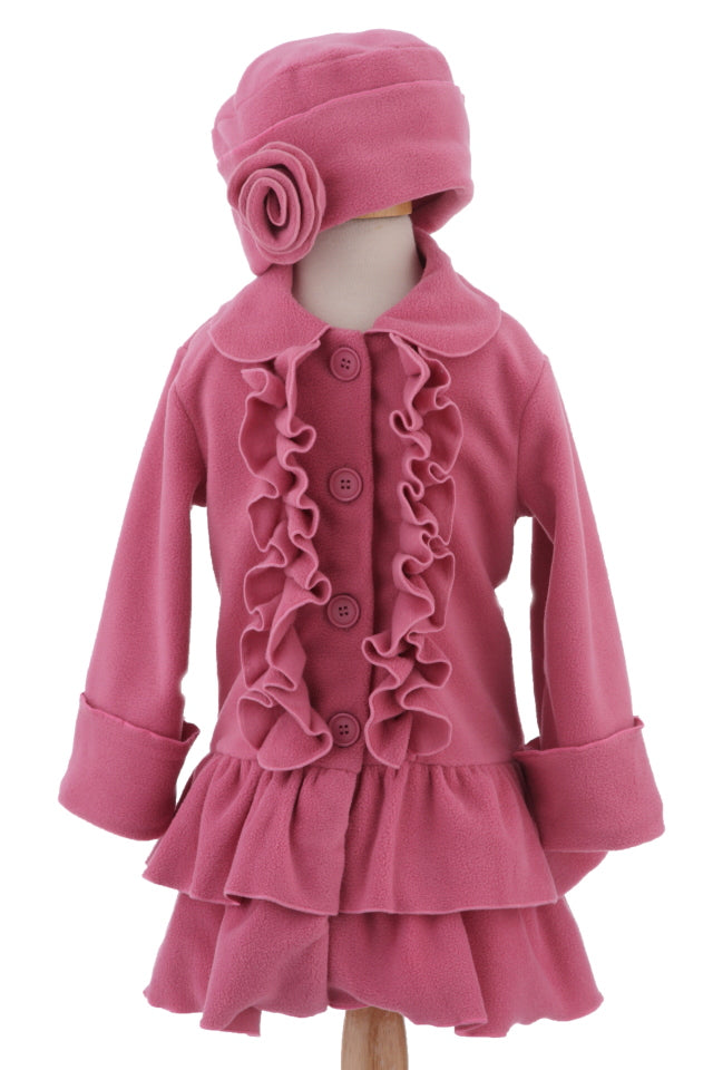 #1700 Dusty Rose Ruffle Front Jacket & Hat Set
