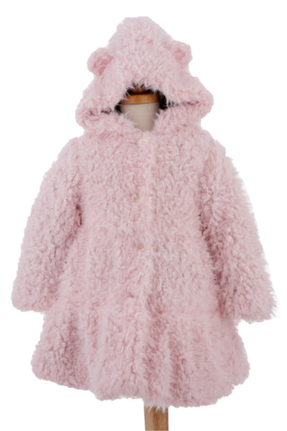 #1923 Pink Faux Fur Hooded Bear Coat