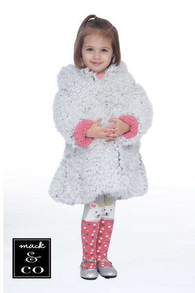 #1923 Ivory Faux Fur Hooded Bear Coat