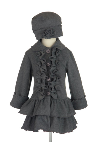 #1700 Charcoal Ruffle Front with Matching Hat