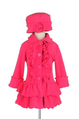 #1700 Hot Pink Ruffle Front with Matching Hat