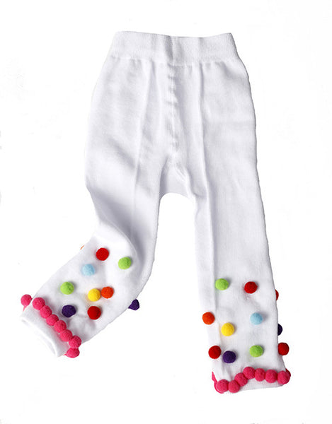 #200 White Pom Pom Leggings