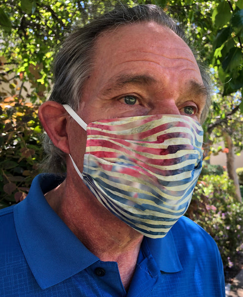 Pleated 'americana' face mask trio
