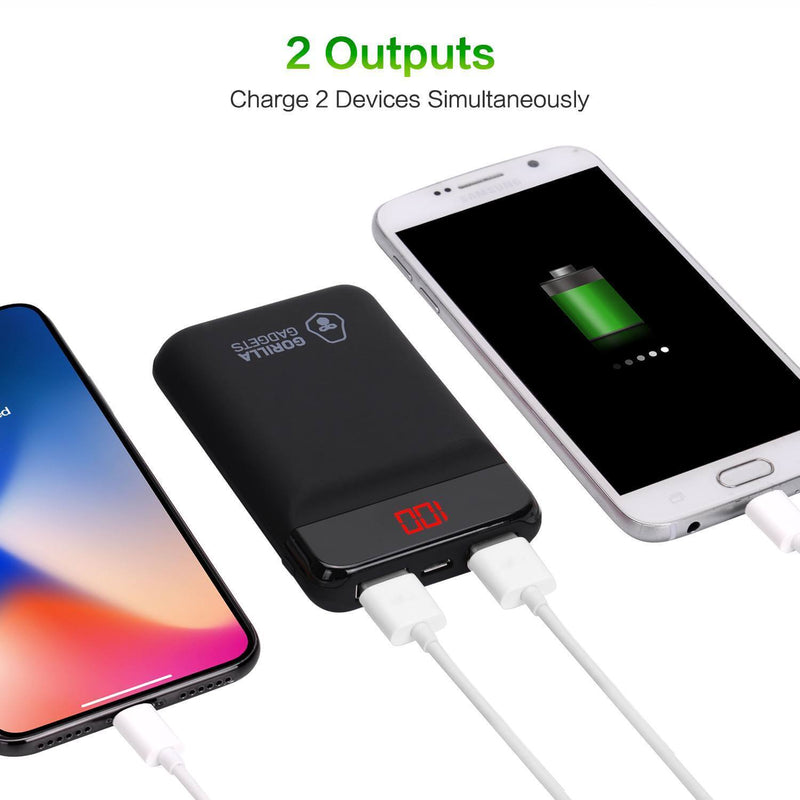 10000mAh Portable Power Bank with Dual USB Ports and Digital Display - Gorilla Gadgets