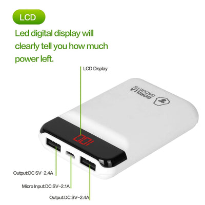 10000mAh Portable Power Bank with Dual USB Ports and Digital Display