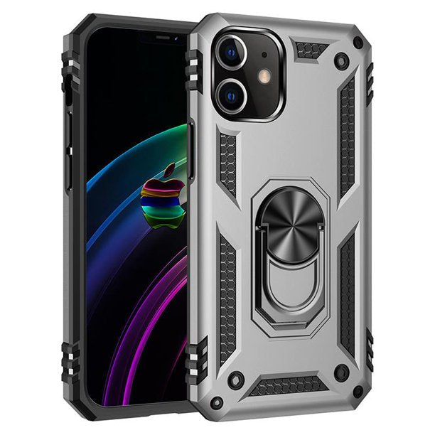 iPhone 12 / 12 Pro Military Grade Case, with 360 Metal Rotating Ring Kickstand Holder, Built-in Magnetic Car Mount Armor, and Heavy Duty Shockproof Cover