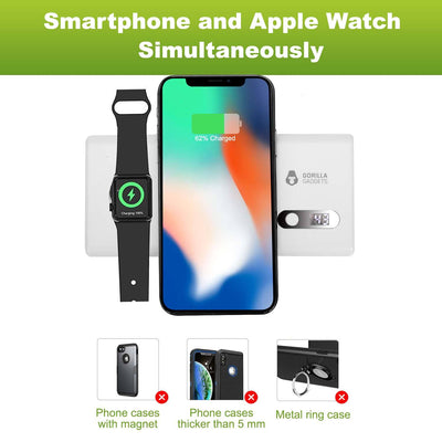 2-in-1 Qi Wireless Power Bank and Apple Watch Charger (20000mAh) - Gorilla Gadgets