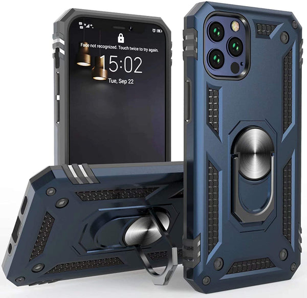 iPhone 12 Pro Max Heavy Duty Case, with 360 Metal Rotating Ring Kickstand Holder, Built-in Car Mount Armor, and Heavy Duty Shockproof Cover