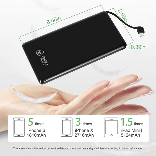 8000mAh Portable Charger Power Bank with Display and Retractable Cable - Gorilla Gadgets