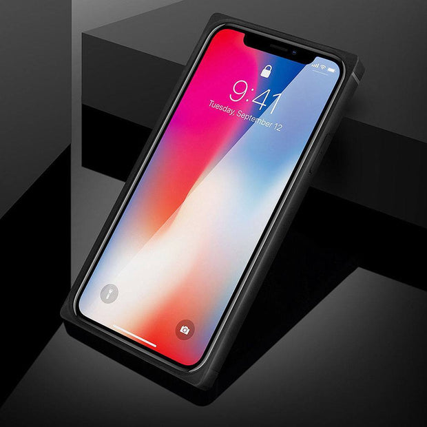 iPhone Xs Max Square Shockproof Protective Case with Tempered Glass Back - Gorilla Gadgets