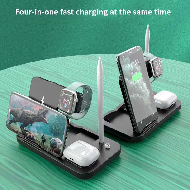 Gorilla Gadgets 4-in-1 Wireless Charging Dock Station for iPhone, Apple Watch, AirPods, And Apple Pencil