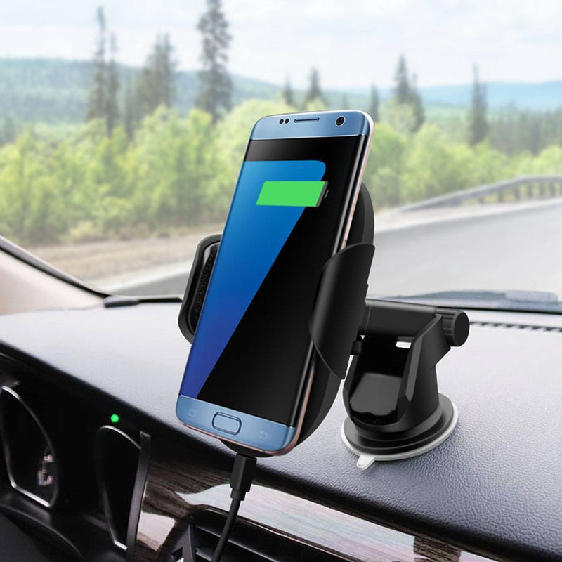 Wireless Charger Car Mount with Sensor Auto-Clamp and QC 3.0 Adapter - Gorilla Gadgets
