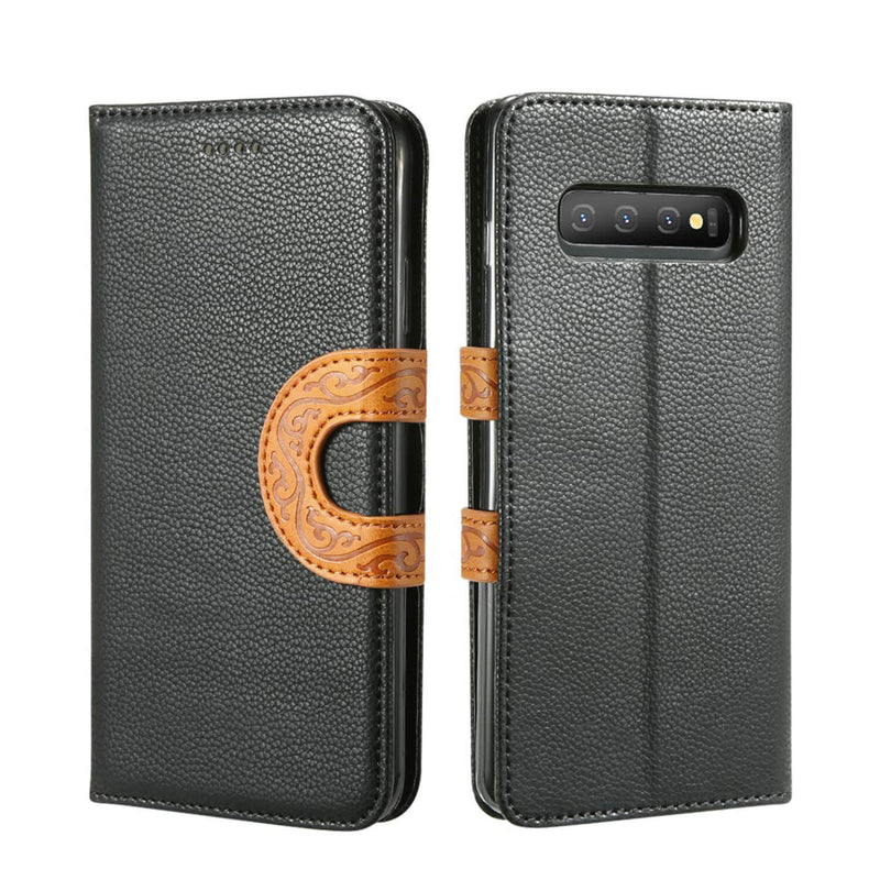 Samsung Galaxy S10 Plus Leather Wallet Case with Tribal Strap - Gorilla Gadgets