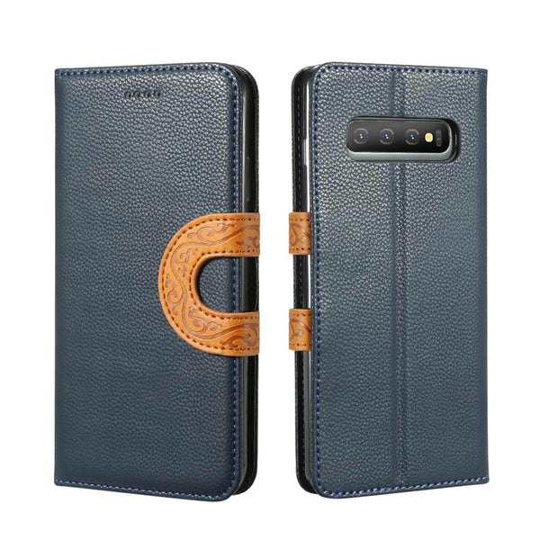 Samsung Galaxy S10 Leather Wallet Case with Tribal Strap - Gorilla Gadgets