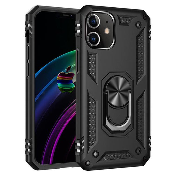 iPhone 12 / 12 Pro Heavy Duty Case, with 360 Metal Rotating Ring Kickstand Holder, Built-in Car Mount Armor, and Heavy Duty Shockproof Cover