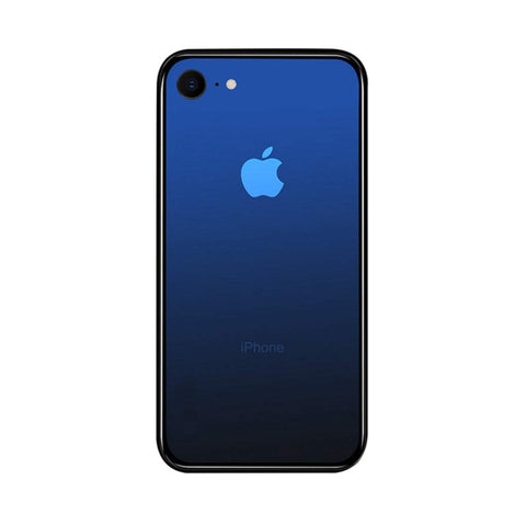 iPhone 7 / 8 Color Gradient TPU Case with Tempered Glass Back - Blue - Gorilla Gadgets