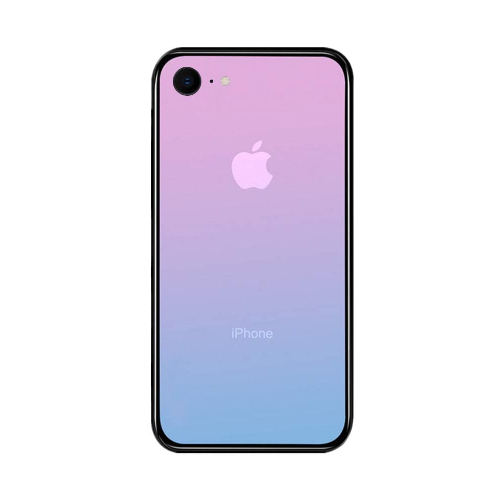 iPhone 7 / 8 Color Gradient TPU Case with Tempered Glass Back